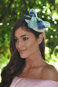 turquoise and navy fascinator