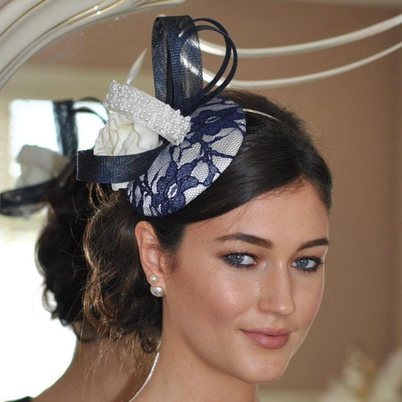 Navy vintage lace & pearl fascinator