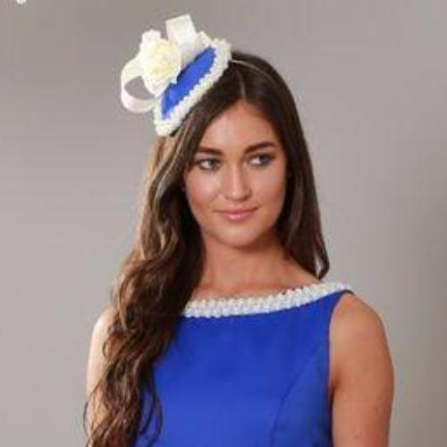 royal blue and Cream Fascinator - My Fascinators