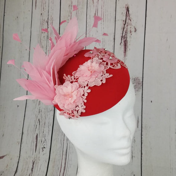 Baby Pink and red fascinator - My Fascinators