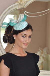 mint and cream lace fascinator - myfascinators.com