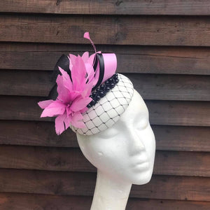 Ivory black and sweet pink fascinator