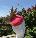 Coral and Gold Fascinator