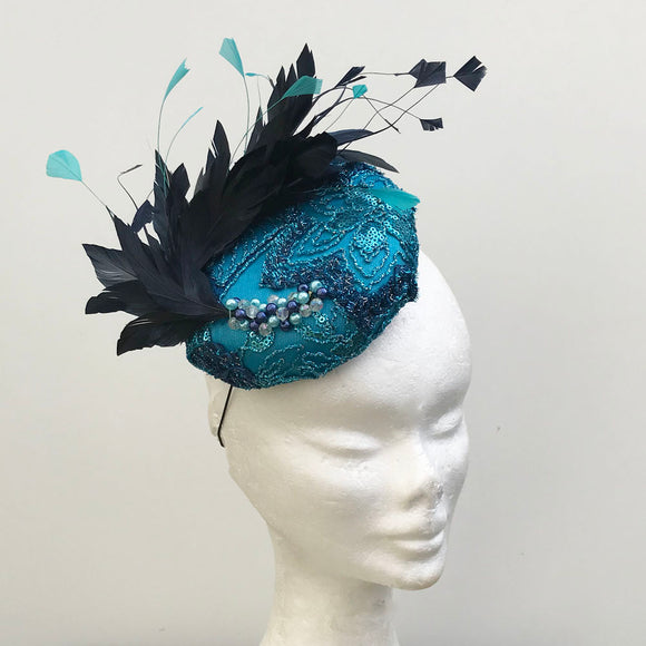 turquoise and navy fascinator - myfascinators
