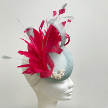 Powder Blue & Cerise Pink Fascinator