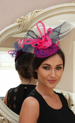 shocking pink and navy fascinator