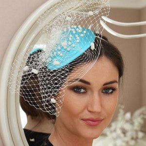 Aqua blue and cream pearl fascinator - my fascinators