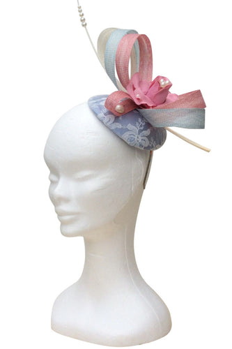 Pink and baby blue headpiece fascinator - Embellish Moi  - 1