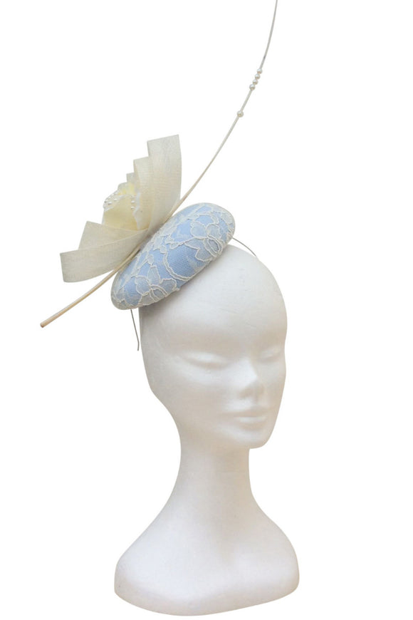 baby blue and cream fascinator hat