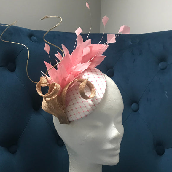 Pastel pink and cream fascinator
