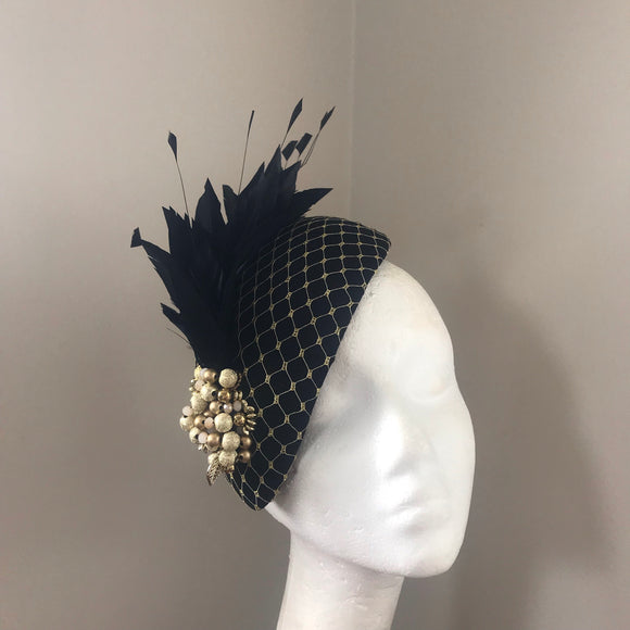 Black and gold teardrop beaded fascinator hire