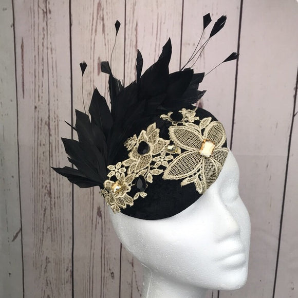 Black velvet and gold fascinator - My Fascinators