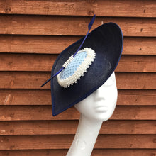 Navy and baby blue fascinator - My Fascinators