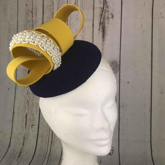 Dublin navy and pale mustard - My Fascinators