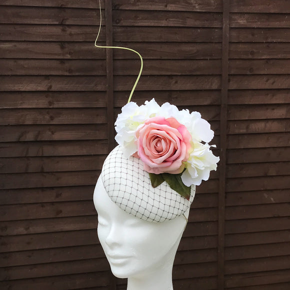 Blush pink and cream fascinator - My Fascinators
