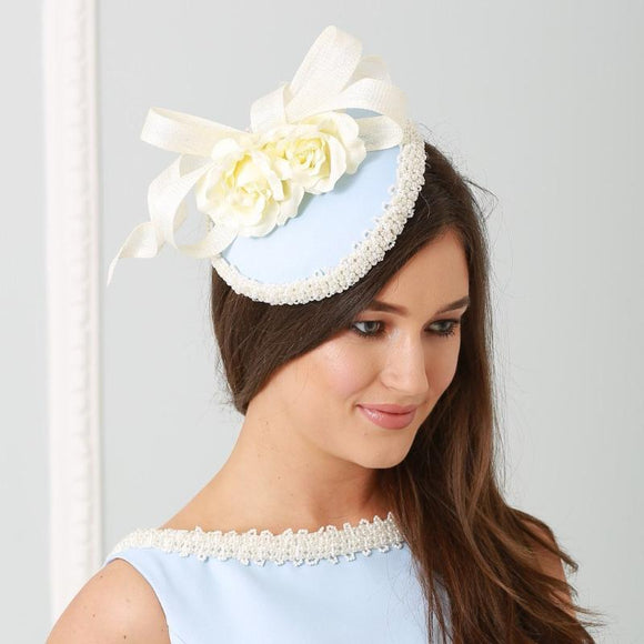 blue and Cream pearl Fascinator - My Fascinators
