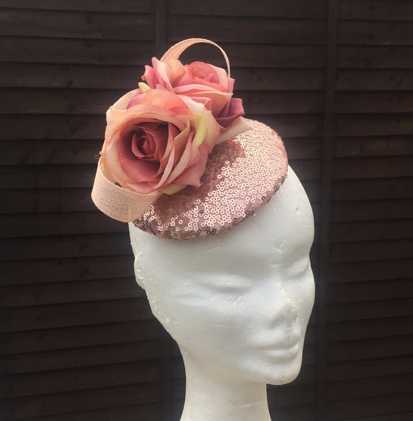 Rose gold and pink fascinator