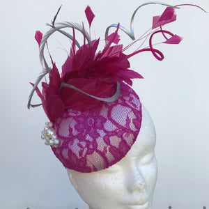 Magenta Pink and silver fascinators - My Fascinators