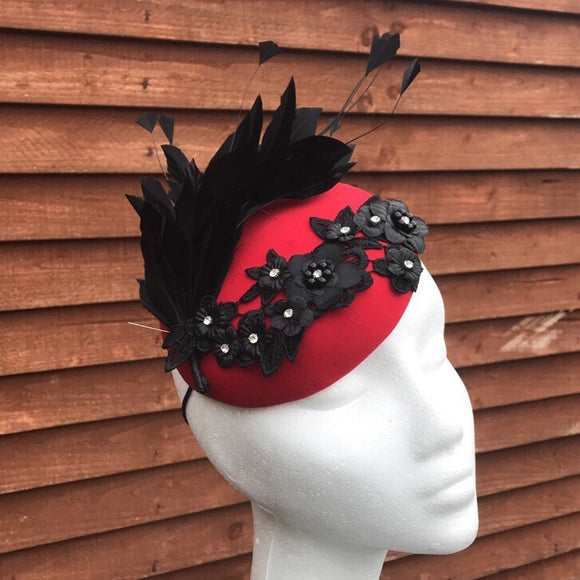 Fascinator red and black - My Fascinators