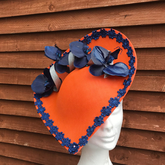 Orange and navy Fascinator - My Fascinators