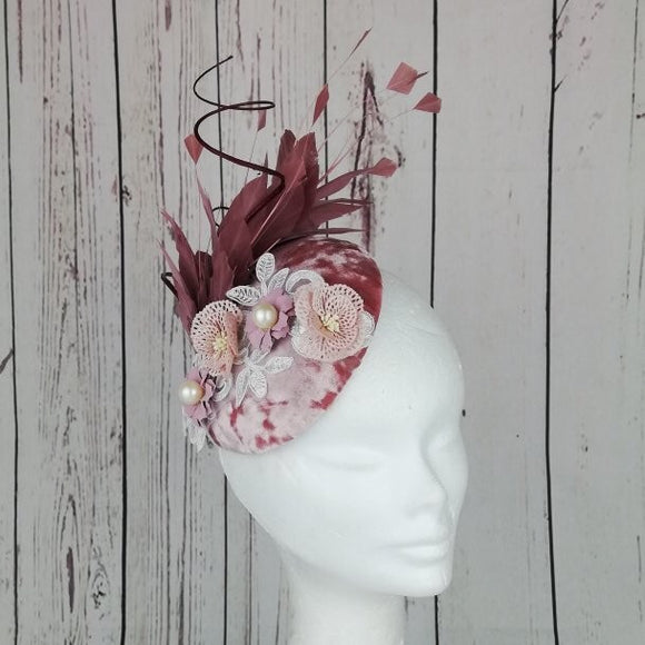 Velvet pink and wine Fascinator - My Fascinators