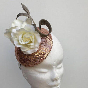 Rose gold and gold floral fascinator - My Fascinators