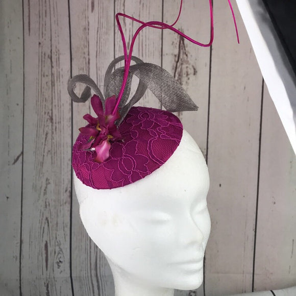 Magenta and silver fascinator