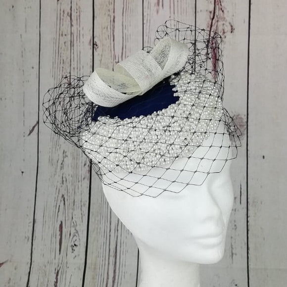 Navy and cream Fascinator - My Fascinators