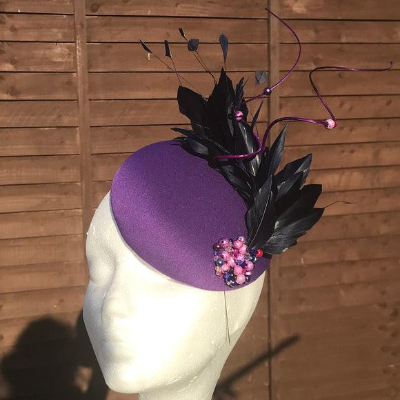 Purple and navy fascinator