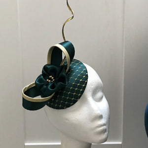 Forest green and gold fascinator
