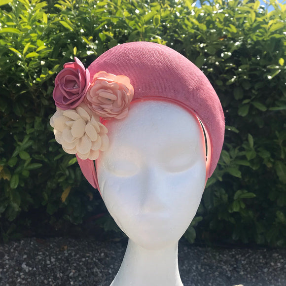 Dusty pink fascinator crown