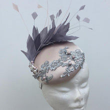 grey and pink fascinator