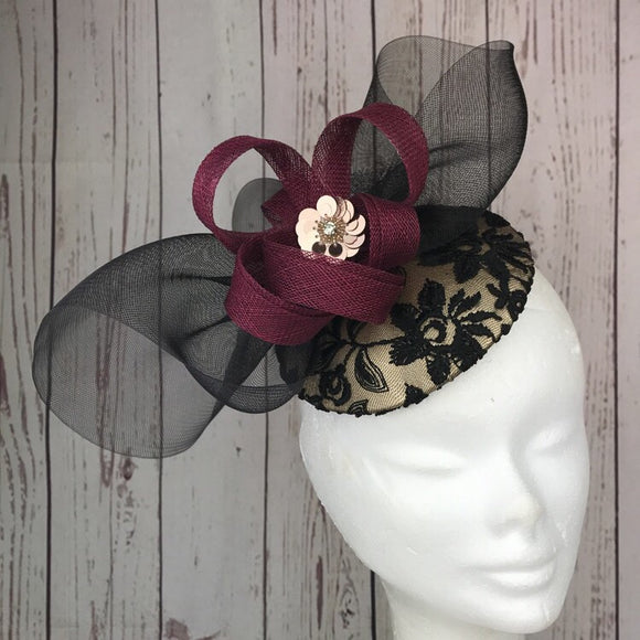 Gold black and plum - My Fascinators