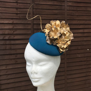 teal and gold fascinator - myfascinators