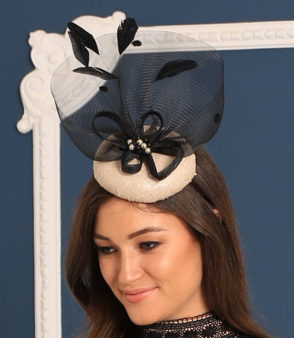 gold and black fascinator