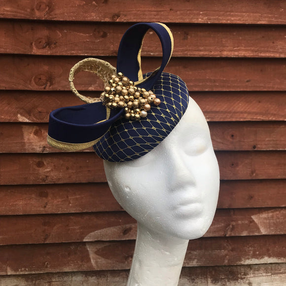 Navy and gold beaded fascinator