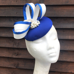 Royal blue and pearl fascinator