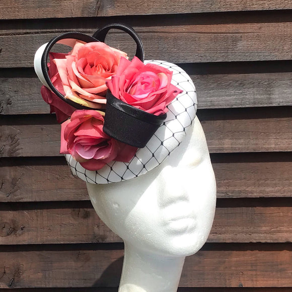 Vanilla and dusty pink floral Fascinator