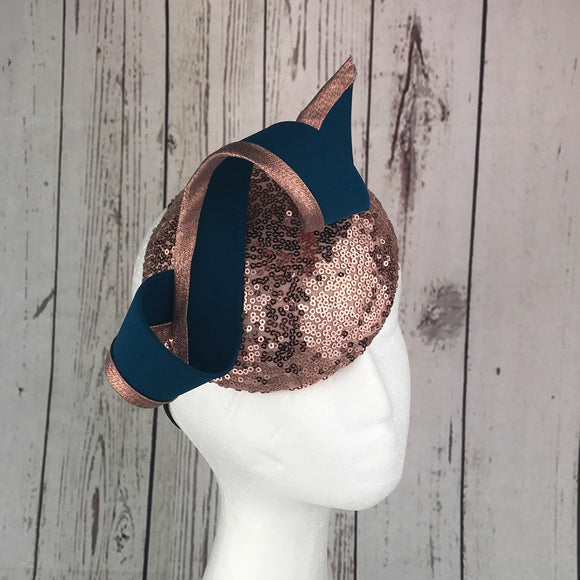 Rose gold and teal fascinator - My Fascinators