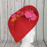 Pink orange & red fascinator - My Fascinators