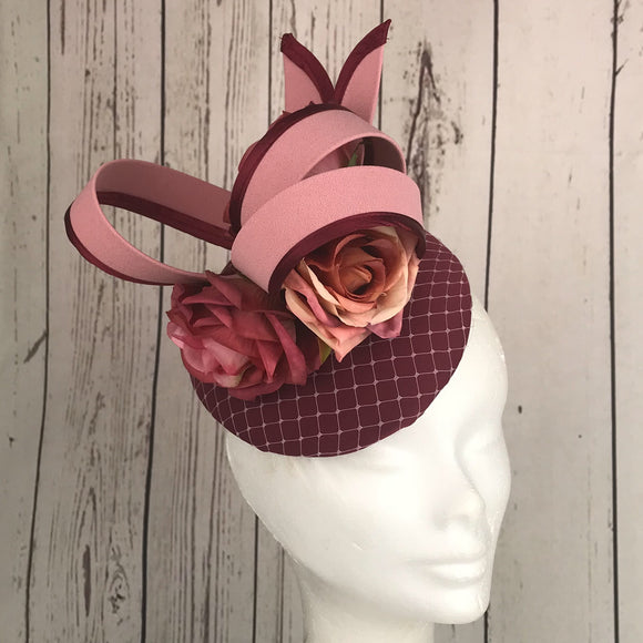 Pink and wine loops fascinator - My Fascinators