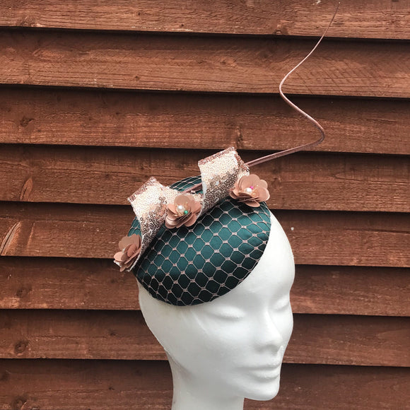 Rose gold and forest green fascinator - My Fascinators