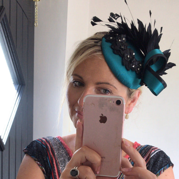 Teal and black feather fascinator