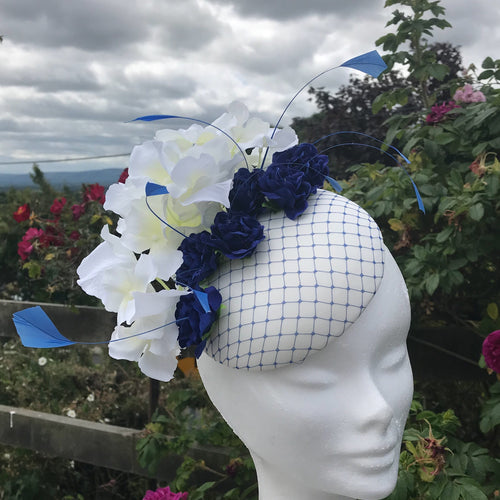 Royal blue and vanilla fascinator - My Fascinators