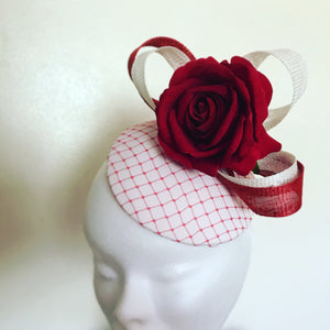 Ivory and Red Fascinator - My Fascinators
