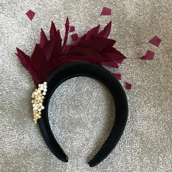 Black velvet hairband  with wine feather Hire