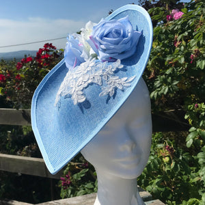 Baby blue large fascinator - My Fascinators
