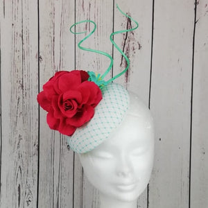 Vanilla cerise and mint fascinator - My Fascinators