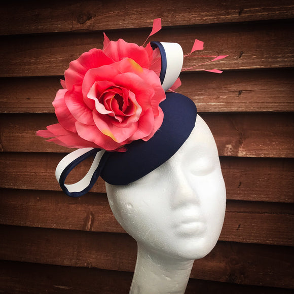 Navy Coral & vanilla Fascinator