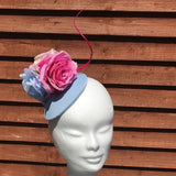 Baby blue and pink fascinator - My Fascinators
